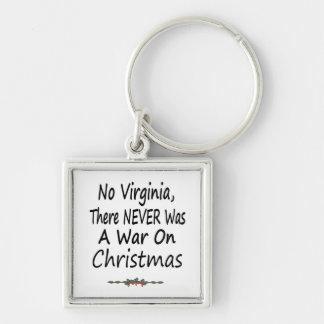 No hay Virginia allí NUNCA una guerra en navidad Llavero Cuadrado Plateado