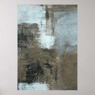 'No Hesitation' Grey and Brown Abstract Art Poster