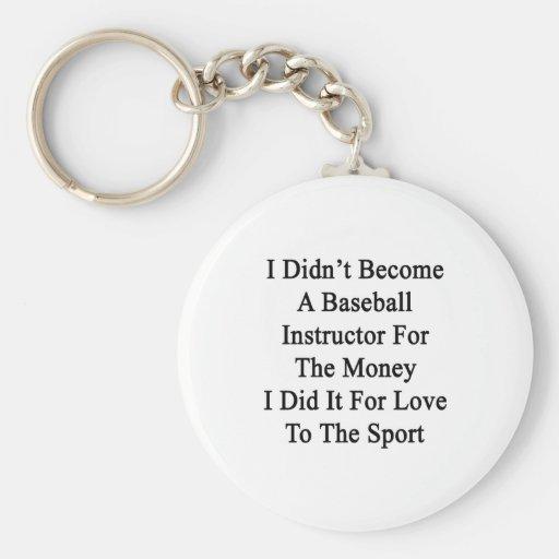 No hice instructor del béisbol para el Mone Llaveros Personalizados