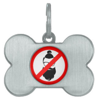 No Hipsters or Man Buns Pet ID Tag
