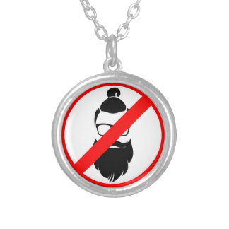 No Hipsters or Man Buns Round Pendant Necklace