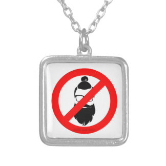 No Hipsters or Man Buns Square Pendant Necklace