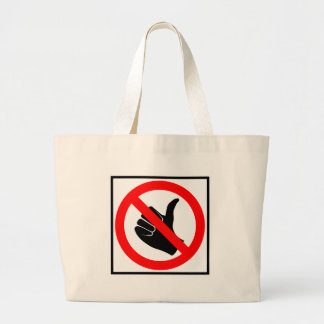 No Hitchhiking Highway Sign Canvas Bags