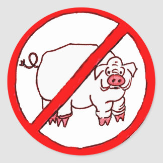 No Hogs Circle Classic Round Sticker