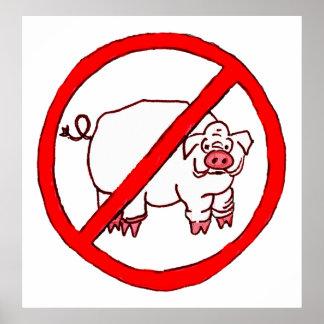 No Hogs Circle Poster