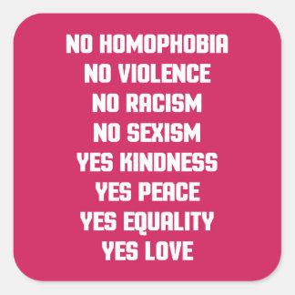 No Homophobia Quote Square Sticker
