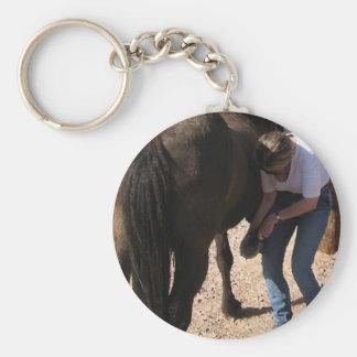No Hoof, No Horse - Cowgirl Chores - Farrier Work Basic Round Button Keychain