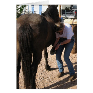 No Hoof, No Horse - Cowgirl Farrier Chores - Blank Greeting Card