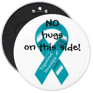 No hugs on this side button. pinback button