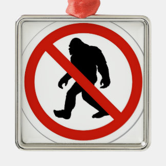 NO HUNTING BIGFOOT METAL ORNAMENT