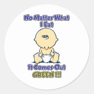 No importa qué yo como sale verde pegatina redonda