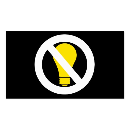 no incandescent bulbs business card template