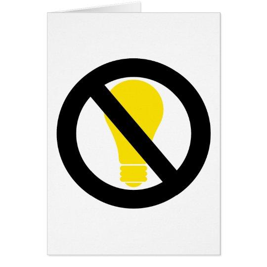 no incandescent bulbs card