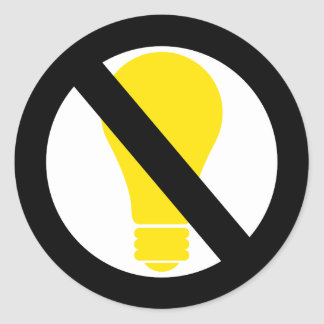 no incandescent bulbs classic round sticker