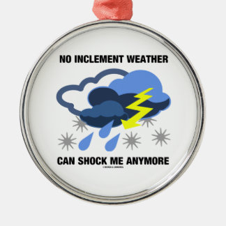No Inclement Weather Can Shock Me Anymore Round Metal Christmas Ornament