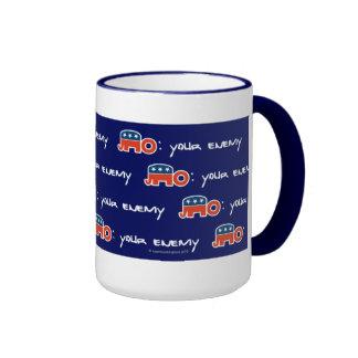 No (is) Your Enemy (blue bkgr) Ringer Mug