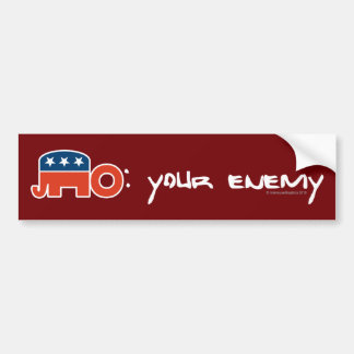 No (is) Your Enemy (red bkgr) Car Bumper Sticker