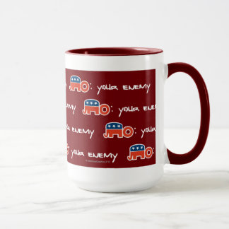 No (is) Your Enemy (red bkgr) Mug