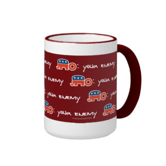 No (is) Your Enemy (red bkgr) Ringer Mug