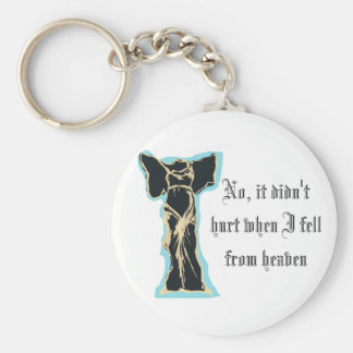 No, it didn't hurt when I fell from heaven Basic Round Button Keychain