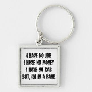 No Job - No Money - No Car Silver-Colored Square Keychain