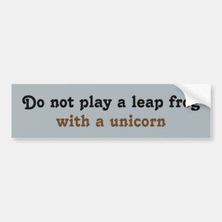 No juegue una rana del salto con un unicornio pegatina de parachoque