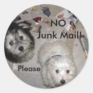 No Junk Mail Puppies Round Stickers
