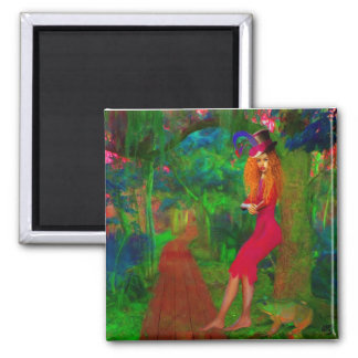 No Kissing Frogs 2 Inch Square Magnet