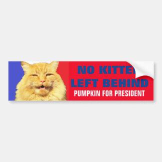 No Kitten Left Behind Pumpkin For President 2016 Bumper Sticker