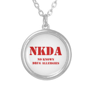 NO KNOWN DRUG ALLERGIES SILVER PLATED NECKLACE
