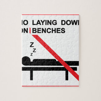 No laying down on benches Sign Jigsaw Puzzle