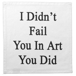 No le fallé en arte que usted lo hizo