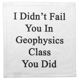 No le fallé en clase de la geofísica que usted lo servilleta imprimida