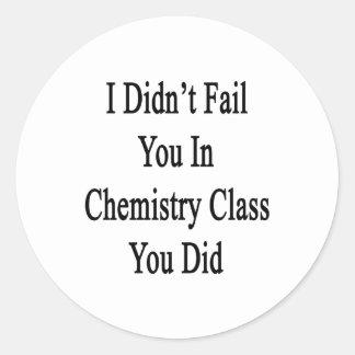 No le fallé en clase de química que usted lo hizo pegatina