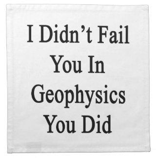 No le fallé en geofísica que usted lo hizo servilletas imprimidas