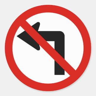 No Left Round Stickers