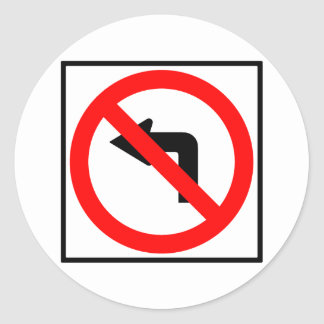 No Left Turn Highway Sign Stickers