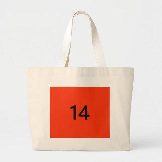 No. legendario 14 en naranja y negro bolsa de tela grande