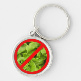 NO lettuce symbol key-chain Silver-Colored Round Keychain