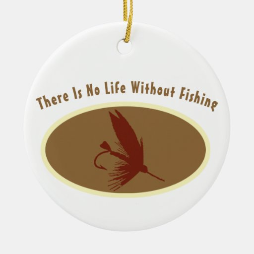 No Life Without Fishing Double-Sided Ceramic Round Christmas Ornament