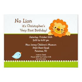 No Lion Kids Birthday Invitation 5