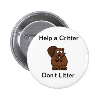 no littering pinback button