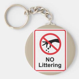 No littering sign Hand gesture red black Basic Round Button Keychain