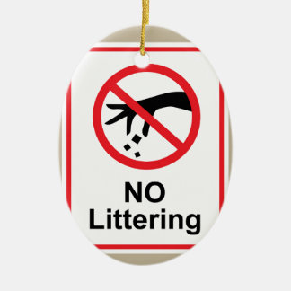 No littering sign Hand gesture red black Ceramic Ornament
