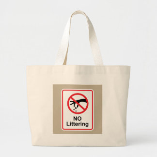 No littering sign Hand gesture red black Large Tote Bag