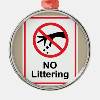 No littering sign Hand gesture red black Metal Ornament