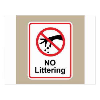 No littering sign Hand gesture red black Postcard