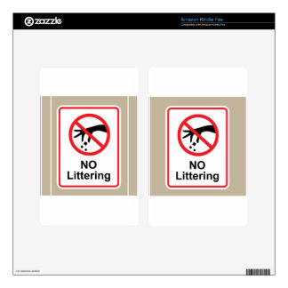No littering sign Hand gesture red black Skins For Kindle Fire