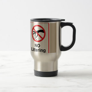 No littering sign Hand gesture red black Travel Mug