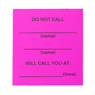 No llame las notas del recordatorio (el rosa)